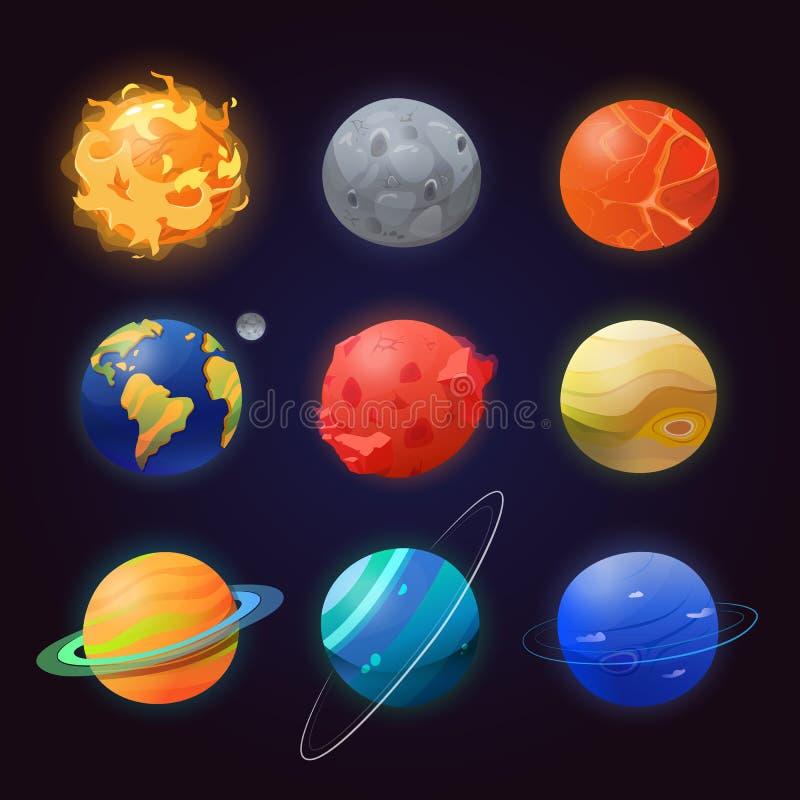 Satz von lokalisierten Sonnensystemplaneten und -sonne stock abbildung