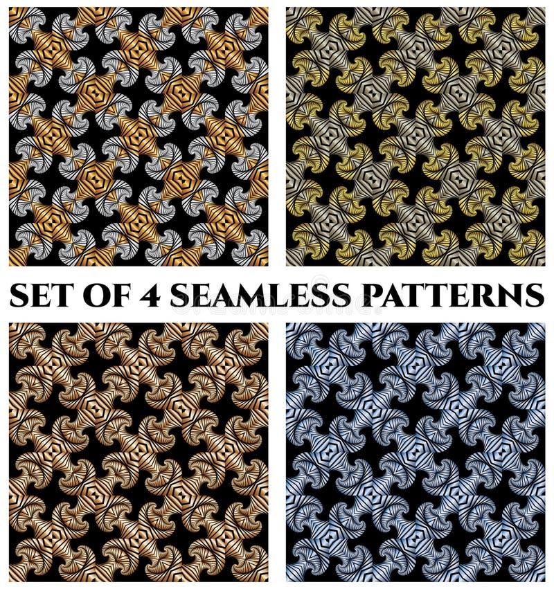 Satz von 4 luxuriösen nahtlosen Mustern mit goldener, silberner, Bronze- und blauer metallischer Fractalverzierung auf schwarzen  lizenzfreie abbildung