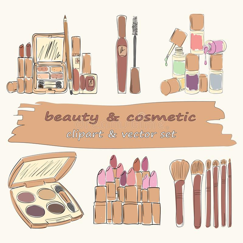 Satz von 6 Make-up und Kosmetikgegenständen lizenzfreies stockbild