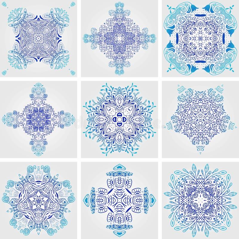 Satz von mexikanischem stilisiertem Talavera deckt nahtloses Muster mit Ziegeln Hintergrund für Design und Mode Arabische, indisc lizenzfreie abbildung