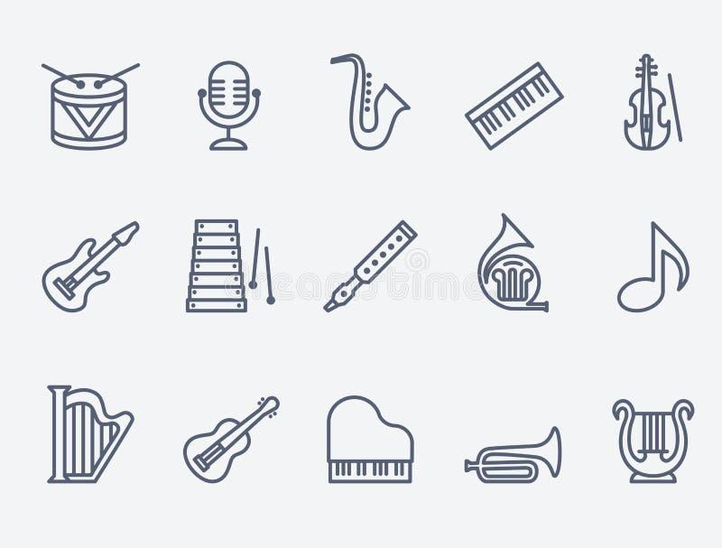 Satz von 15 Musikinstrumenten lizenzfreie abbildung