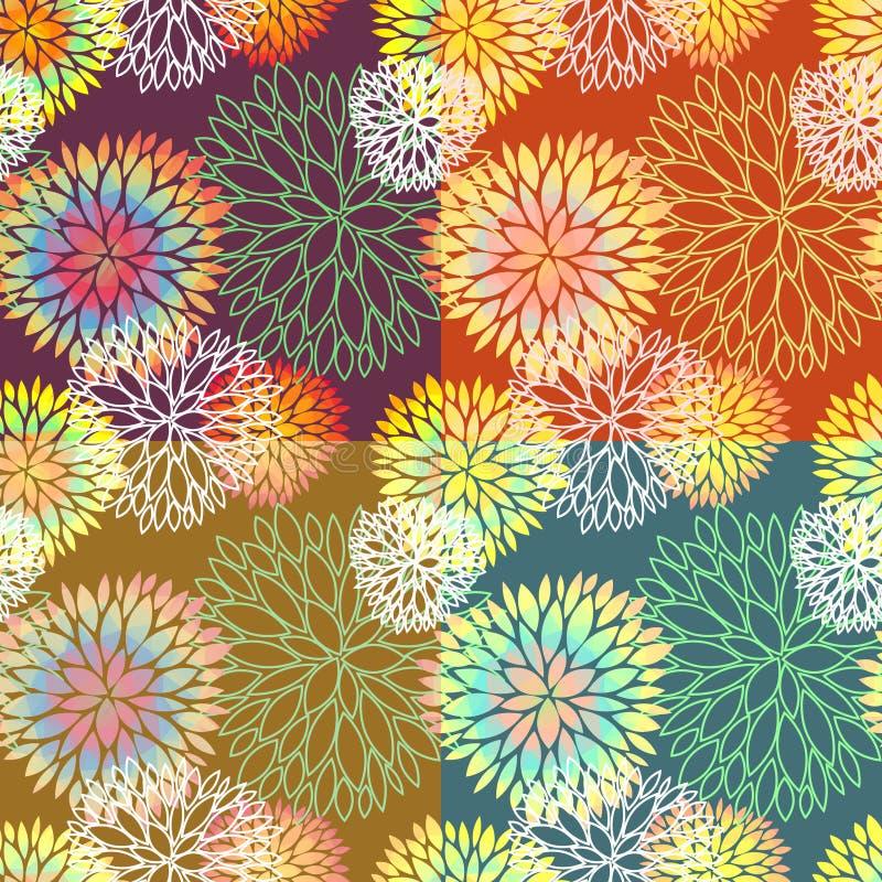 Satz von 4 nahtlosen Blumenhintergründen vektor abbildung