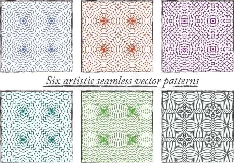 Satz von 6 nahtlosen bunten künstlerischen Mustern lizenzfreies stockbild