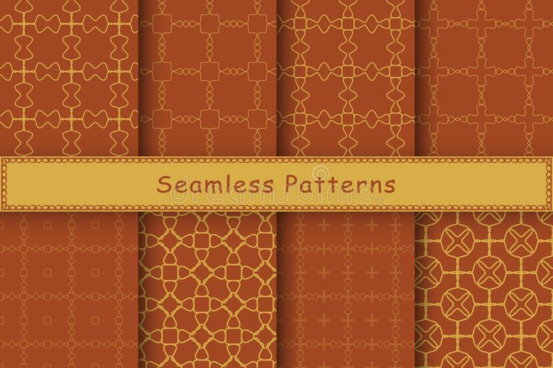 Satz von 8 nahtlosen Mustern in der ethnischen Art vektor abbildung