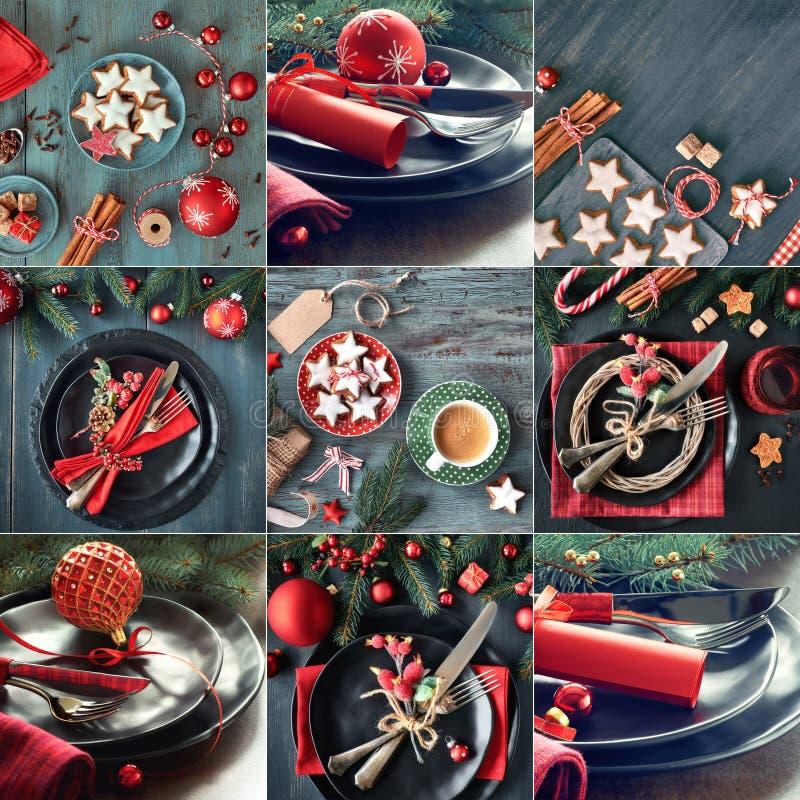 Satz von neun Bildern mit Weihnachtsmenükonzepten auf dunklem backgr stockfotos