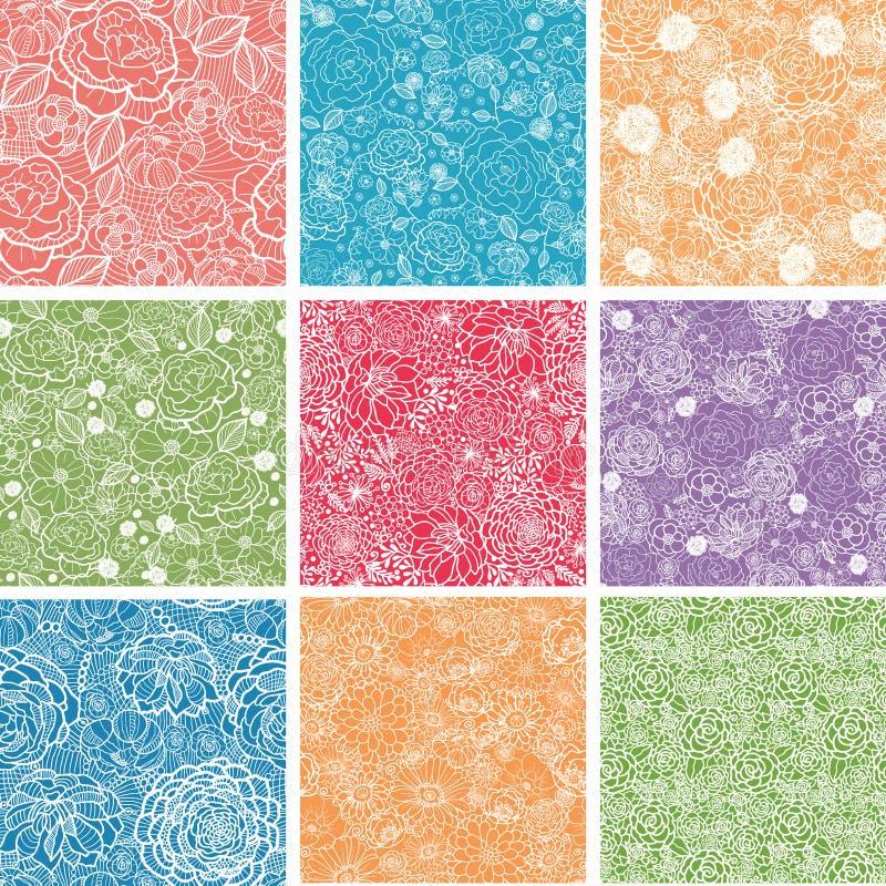Satz von neun Blumenspitze-nahtlosen Mustern stock abbildung