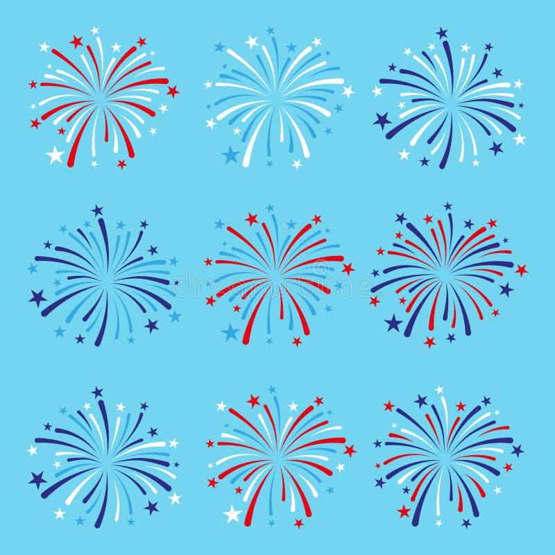 Satz von neun Feuerwerken in den blauen, roten und weißen Farben vektor abbildung