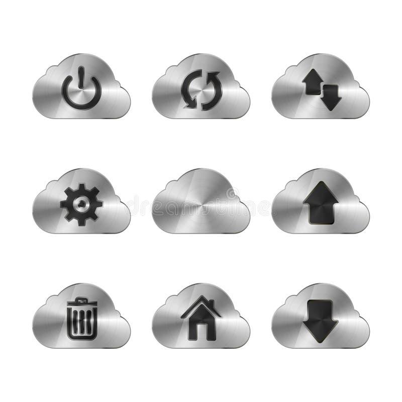 Satz von neun Metallwolkenikonen mit verschiedenen Schnittstellenzeichen, auf Weiß vektor abbildung