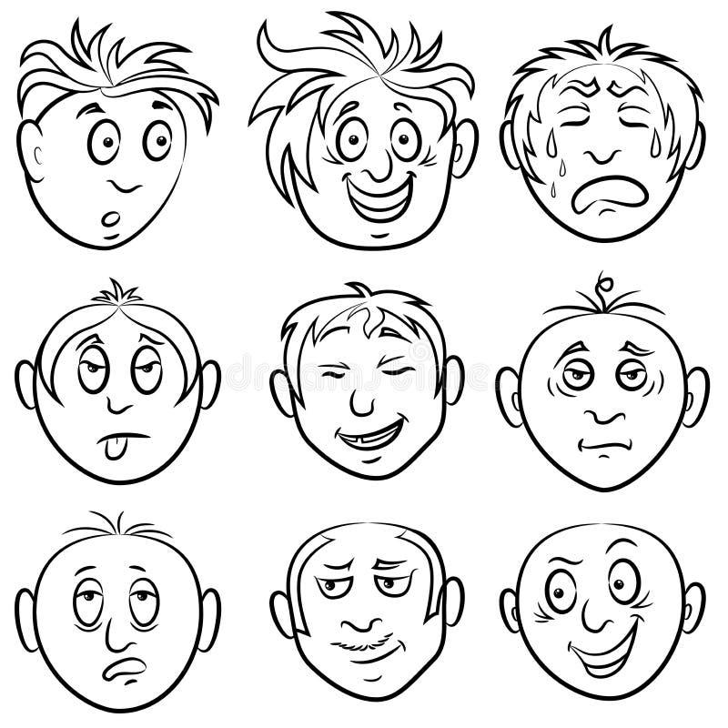 Satz von neun unterhaltenden männlichen Grimassen vektor abbildung