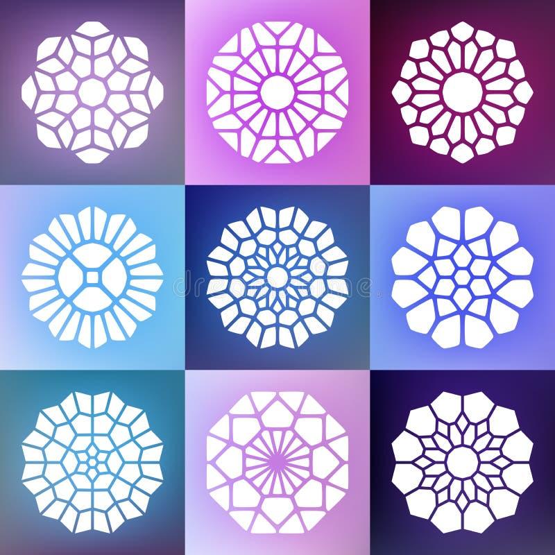 Satz von neun Vektor Mandala Decorative Ornaments Illustration lizenzfreie abbildung