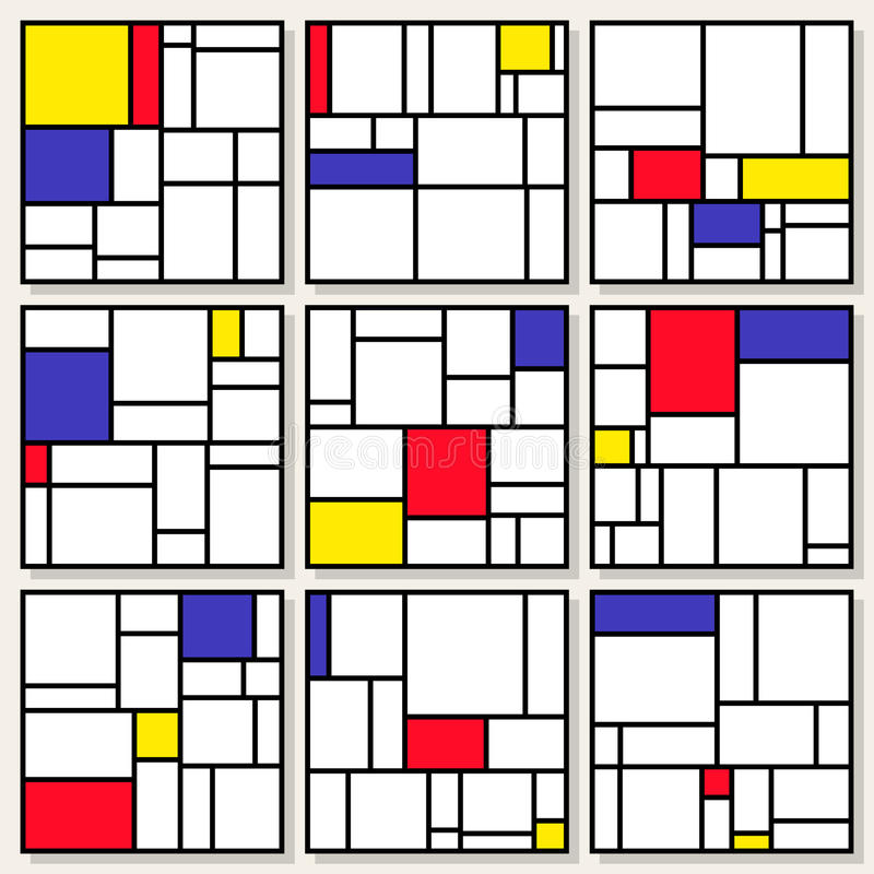 satz von neun vektor quadratischen zusammensetzungen in piet mondrian de stijl style vektor. Black Bedroom Furniture Sets. Home Design Ideas