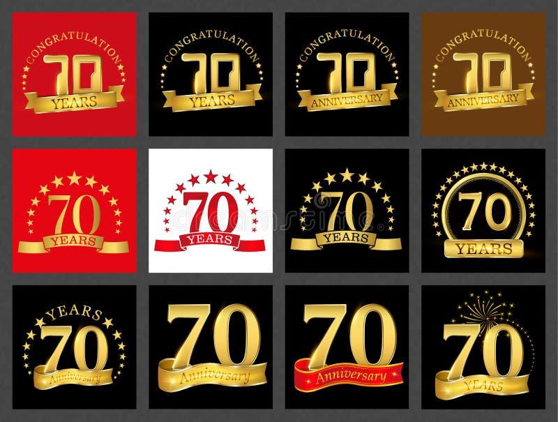 Satz von Nr. siebzig 70 Jahre Feierdesign Zahl-Schablonenelemente des Jahrestages goldene für Ihre Geburtstagsfeier lizenzfreie abbildung