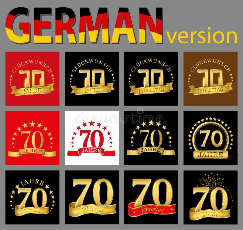Satz von Nr. siebzig 70 Jahre Feierdesign Zahl-Schablonenelemente des Jahrestages goldene für Ihre Geburtstagsfeier Translat lizenzfreie abbildung