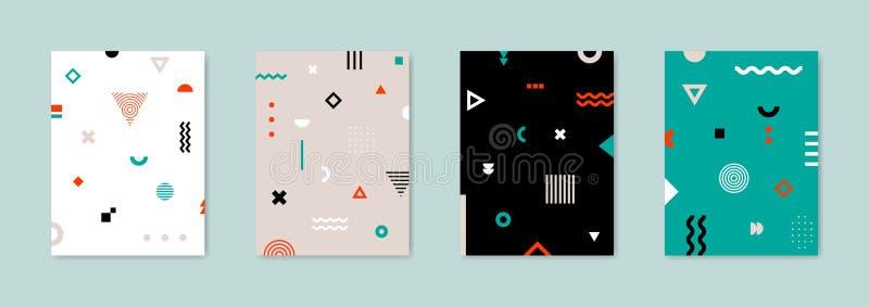 Satz von Plakat 4 mit geometrischem Bauhaus formt Retro- abstrakte Hintergründe lizenzfreie abbildung