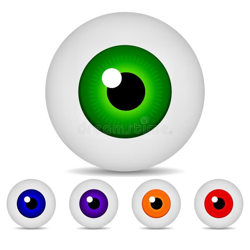 Satz von realistischem Eyeses lokalisiert auf weißem Hintergrund Farbige Augäpfel der Ikonen 3d rundes Bild Auch im corel abgehob lizenzfreie abbildung