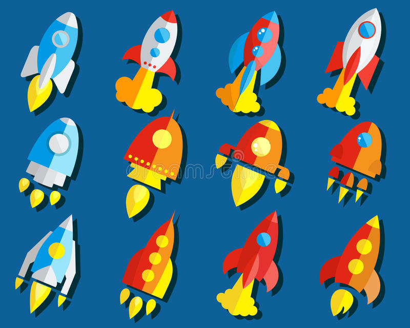 Satz von Rocket Or Spaceship Flat Icon stock abbildung