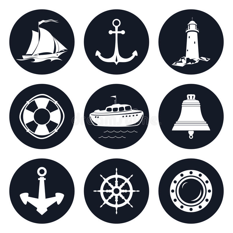 Satz von runder Marine Icons lizenzfreie abbildung
