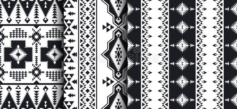 Satz von südwestwärts amerikanischem, indisch, aztekisch, Navajomuster lizenzfreie abbildung