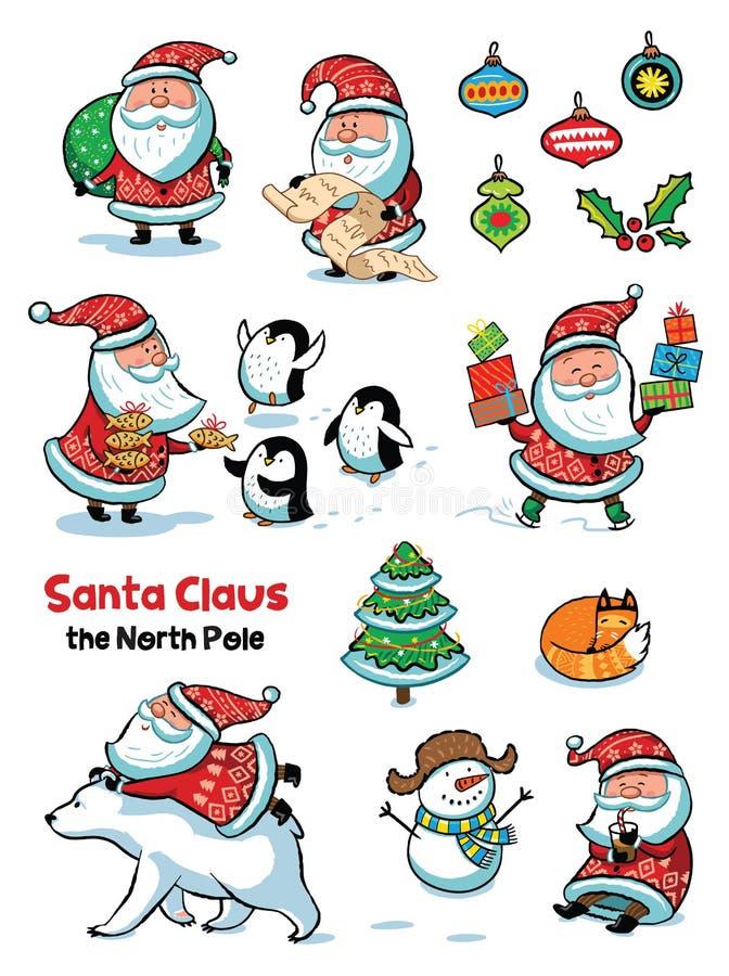 Satz von Santa Claus mit Tieren Vektorillustration in der Karikaturart lizenzfreie abbildung