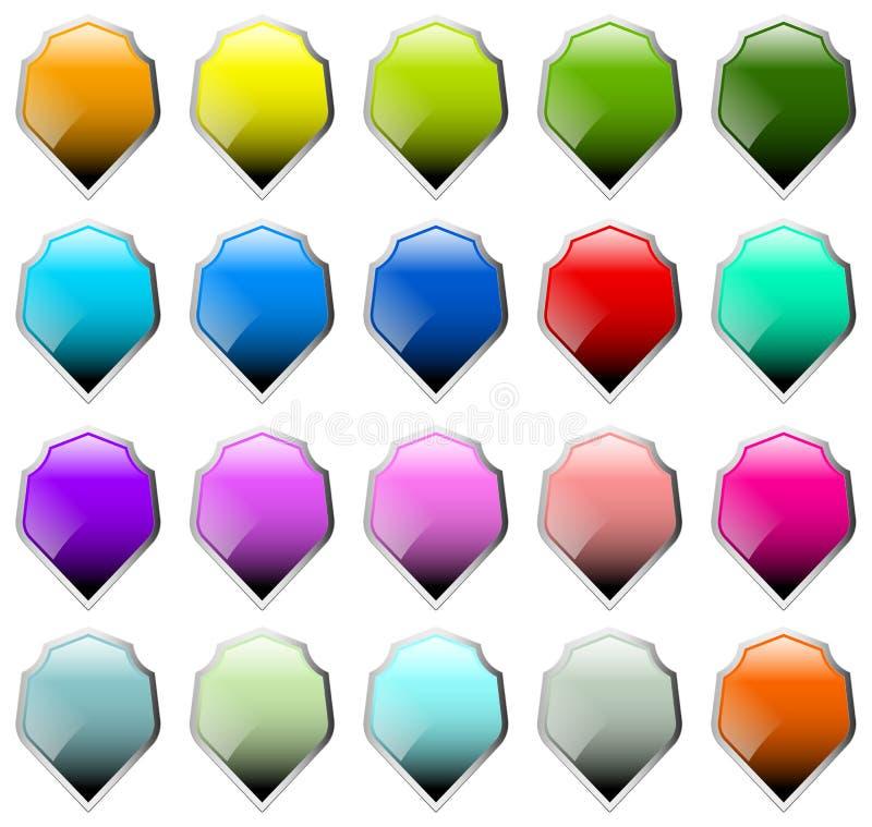 Satz von 16 Schildformen mit verschiedenen Farben stock abbildung