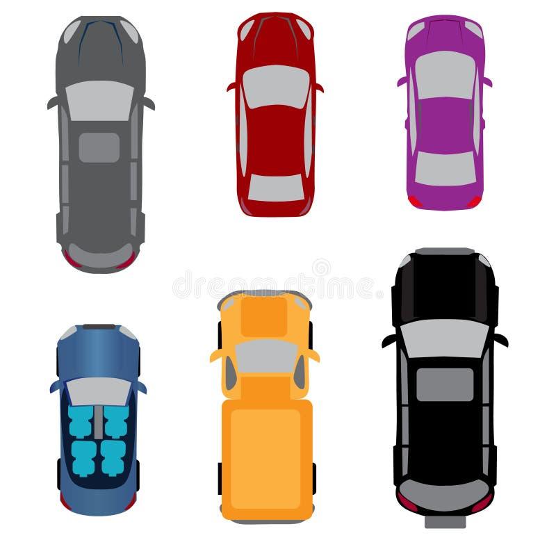 Satz von sechs Fahrzeugen Coupé, Kabriolett, Limousine, Lastwagen, SUV, Passagiervan Ansicht von oben Abbildung lizenzfreie abbildung