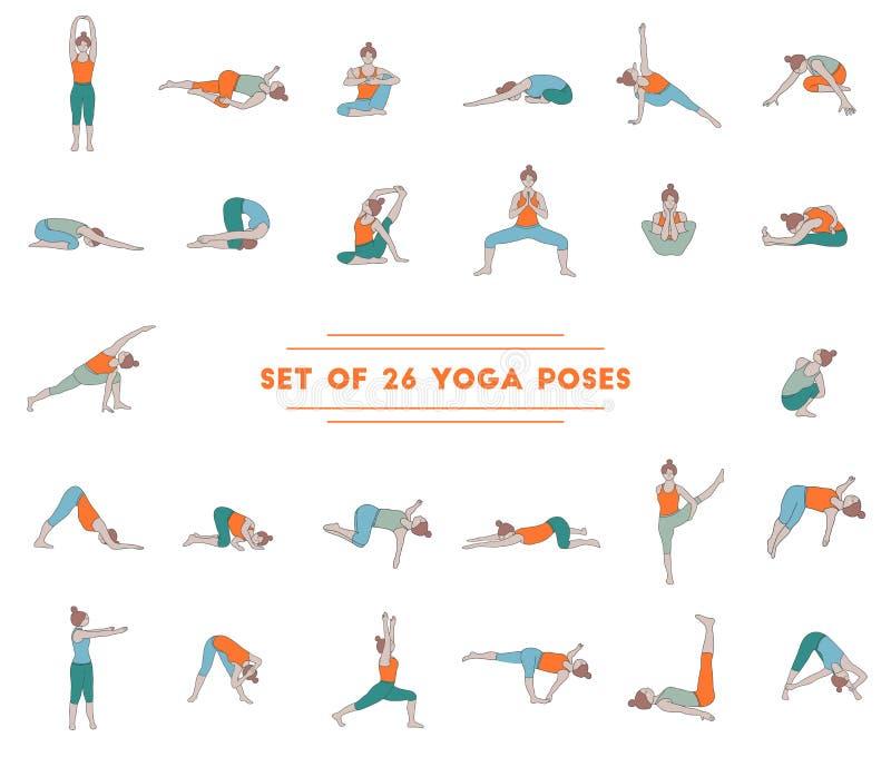 Satz von sechsundzwanzig Yogahaltungen lizenzfreies stockbild