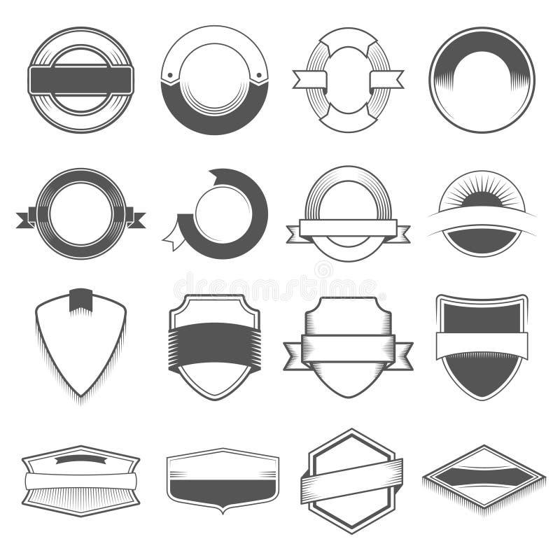 Satz von sechzehn Ausweisen, von Logos, von Grenzen, von Bändern, von Emblem, von Stempel und von Gegenständen Einfarbige Art vektor abbildung