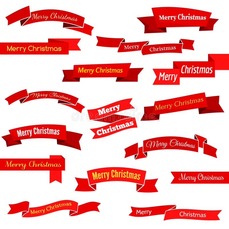 Satz von sechzehn roten Bändern und von Fahnen mit Aufschrift frohen Weihnachten stock abbildung
