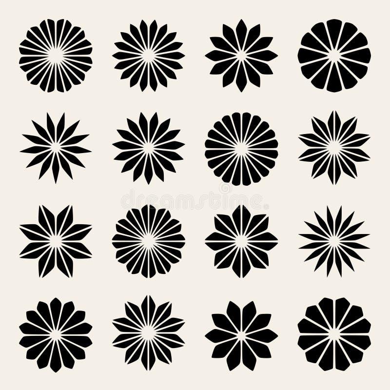 Satz von sechzehn Vektor-schwarzen weiße Blumen-Blumenblatt-Stern-Form-Gestaltungselementen lizenzfreie abbildung