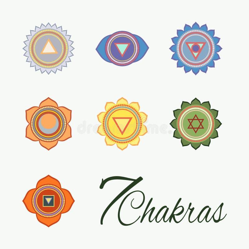 Satz von sieben chakras Ikonen vektor abbildung