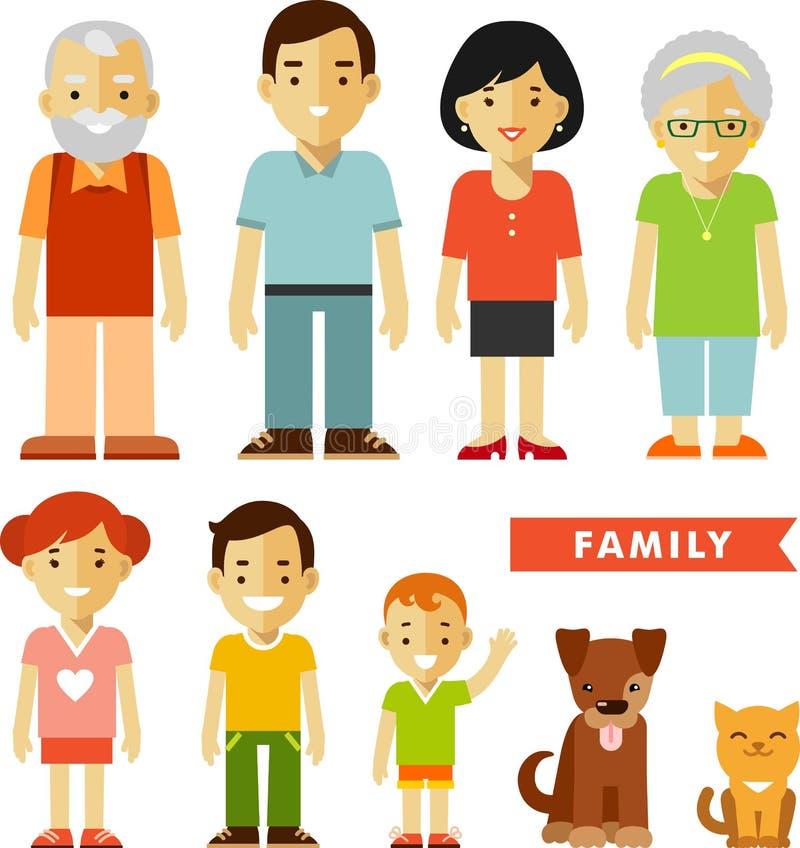 Satz von sieben Familienmitgliedern in der flachen Art stock abbildung