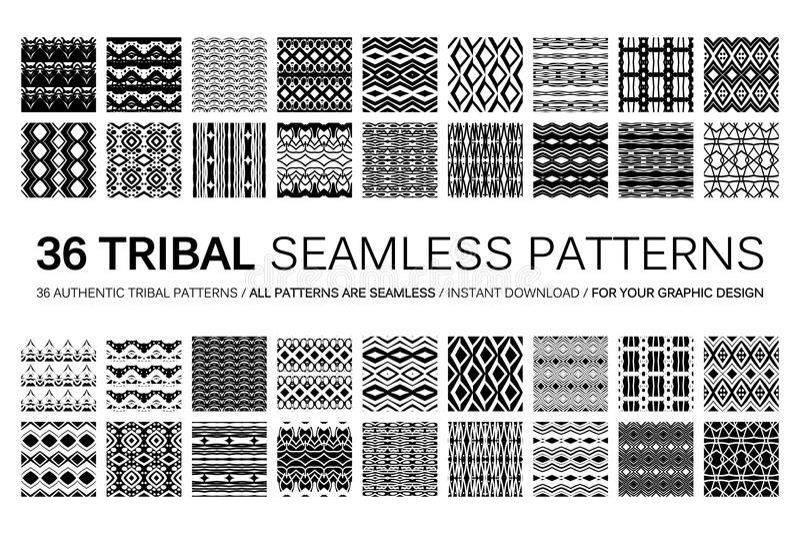 Satz von 36 Stammes- nahtlosen Mustern stock abbildung