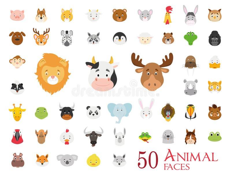 Satz von 50 Tiergesichtern in der Karikaturart lizenzfreie abbildung