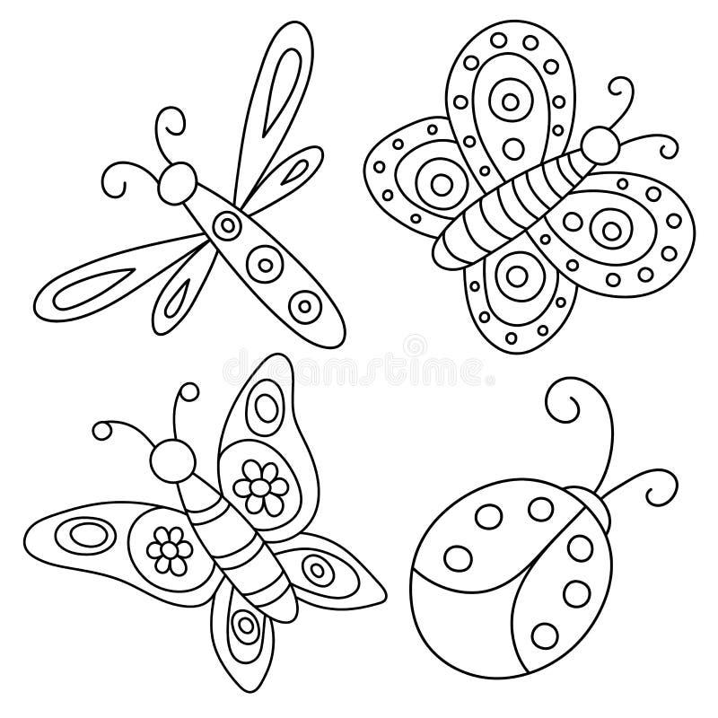 Satz von umrissenen Hand gezeichneten Schmetterlingen, von Marienkäfer und von Libelle stock abbildung