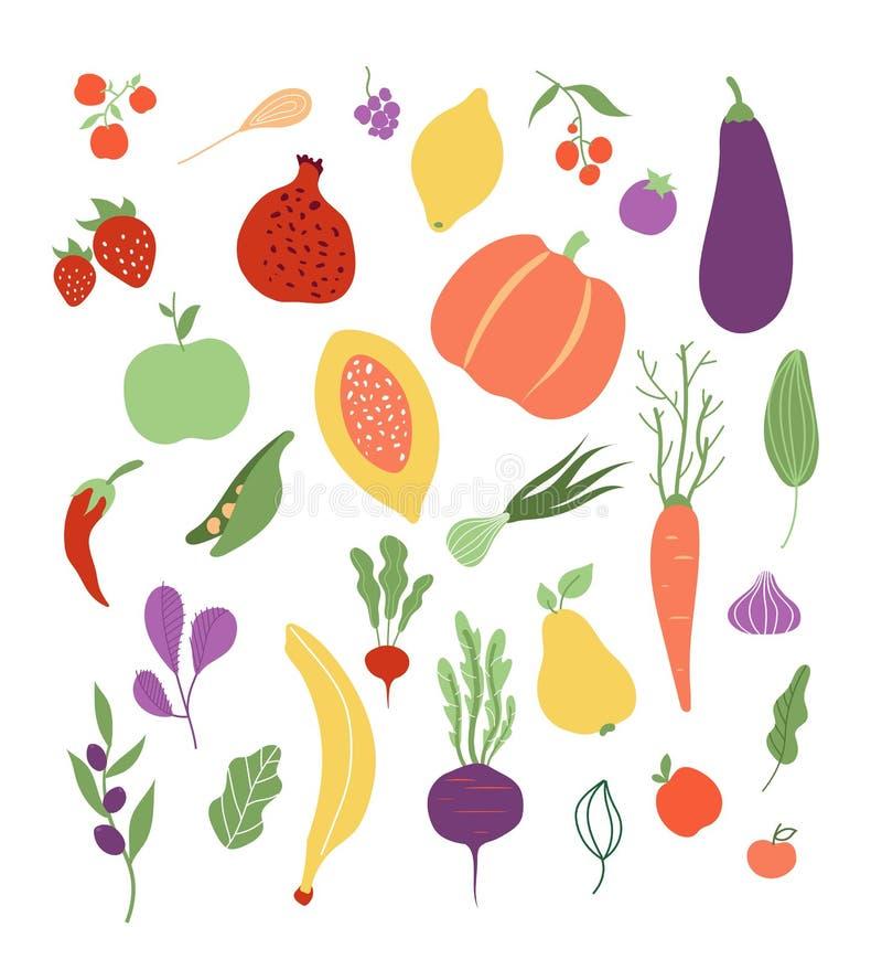 Satz von Vektor 12 f?r Netz Lokalisierter Satz der Fruchtgemüsenahrungsmittelgesundes Logopflanzenmahlzeit clipart stock abbildung