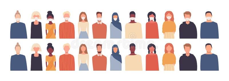 Satz von Vektorgrafiken in flachem Stil Moderne multikulturelle, multiethnische Gesellschaft europäisch, afrikanisch, asiatisch,  stock abbildung