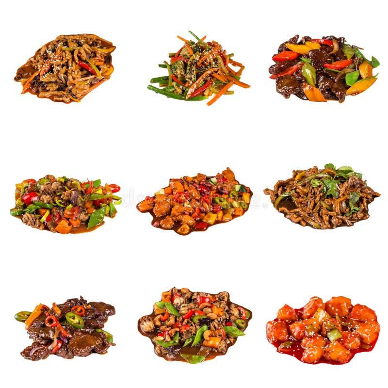 Satz von verschiedene asiatische Teller im Restaurant stockfotos