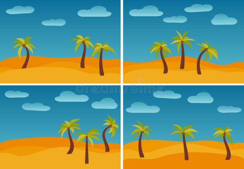 Satz von vier Bildern mit Karikaturnatur gestaltet landschaftlich stock abbildung