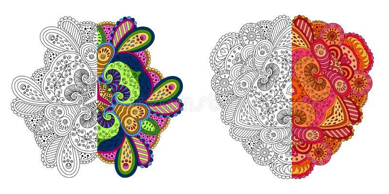 Satz von vier dekorativen Monochrom- und Farbmandalen vektor abbildung