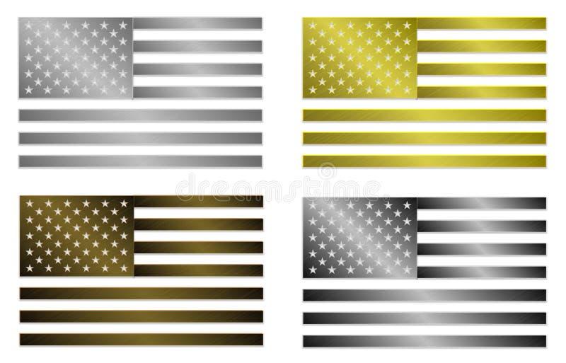 Satz von vier einfach lokalisierten stilisierten metallischen Flaggen von den Vereinigten Staaten von Amerika stock abbildung