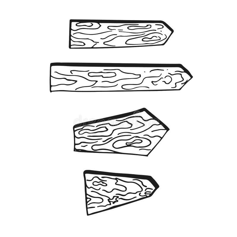 Satz von vier Hand gezeichneten hölzernen Anschlagtafeln auf dem weißen Hintergrund Halloween-Parteielemente vektor abbildung