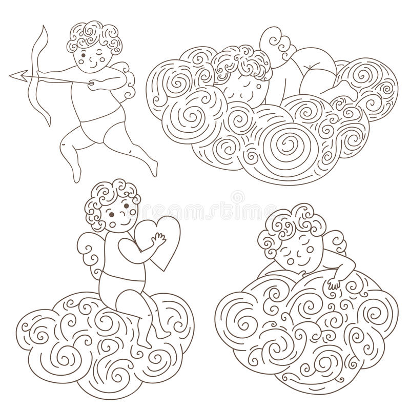 Satz von vier Hand gezeichneten Schlafenengeln auf Wolken Lokalisierter Gegenstand des Entwurfs Engel Auch im corel abgehobenen B lizenzfreie abbildung