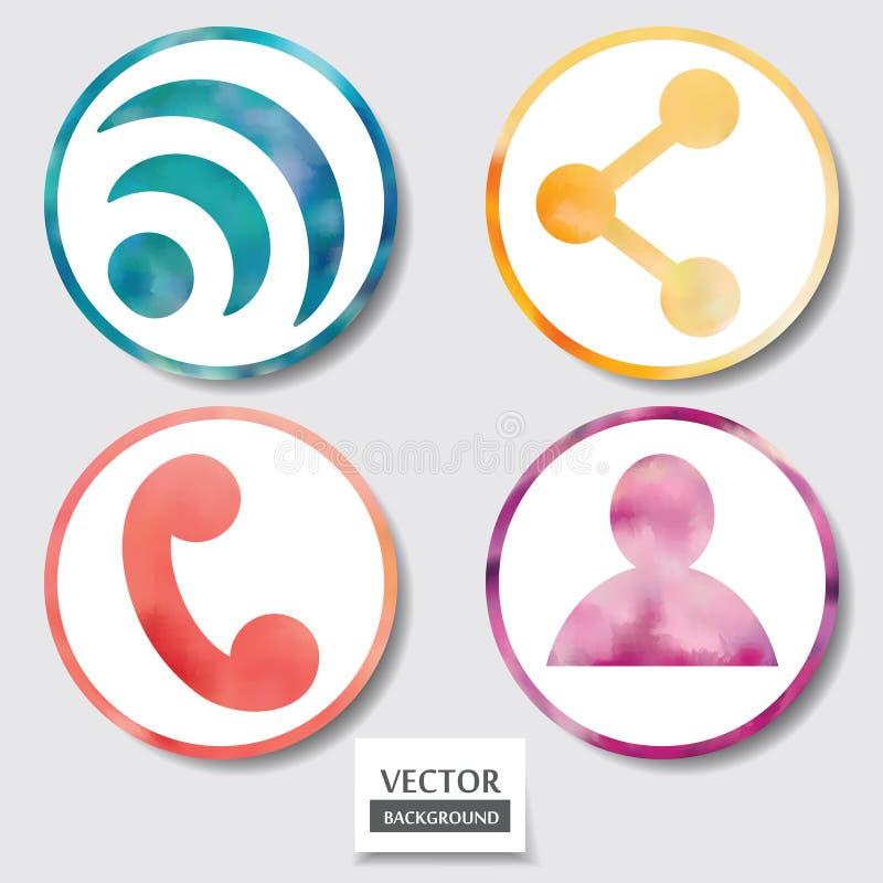 Satz von vier Ikonen. Netz und mobiler apps Kreisaquarellknopf. vektor abbildung