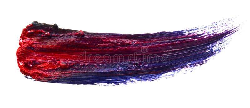 Satz von vier kurvte die handgemachten Ölpinselanschläge lokalisiert lokalisiert auf weißem Hintergrund Detail- oder Nahaufnahmeb lizenzfreies stockfoto
