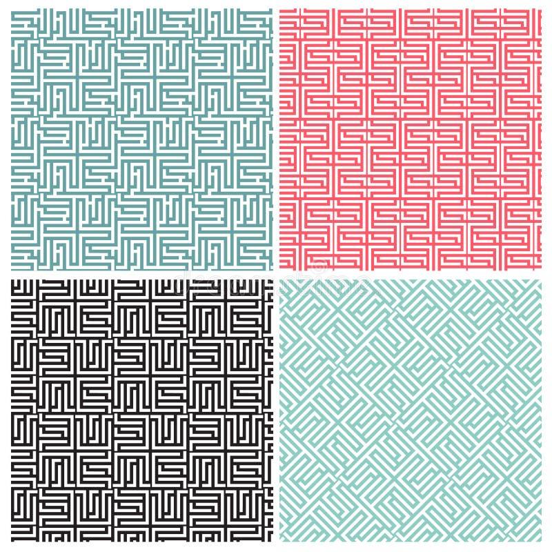 Satz von vier Labyrinthmustern stock abbildung
