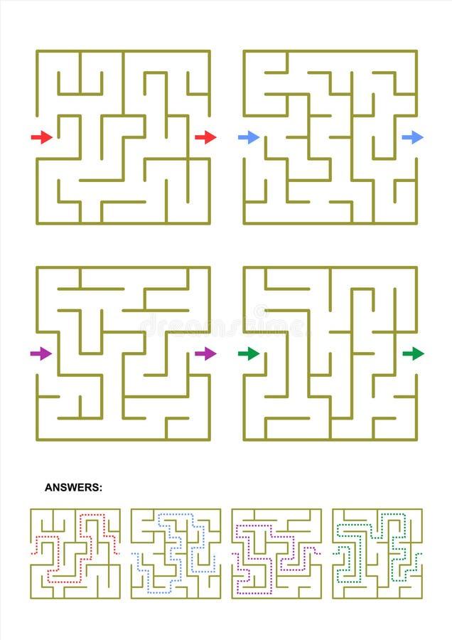 Satz von vier Labyrinthspielschablonen mit Antworten lizenzfreie abbildung