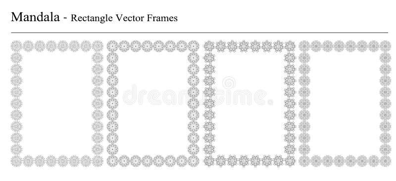 Satz von vier Mandalavektorrahmen stock abbildung