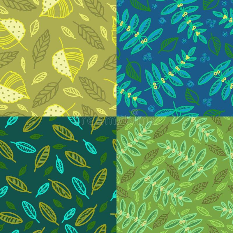 Satz von vier Mustern mit Blättern stock abbildung