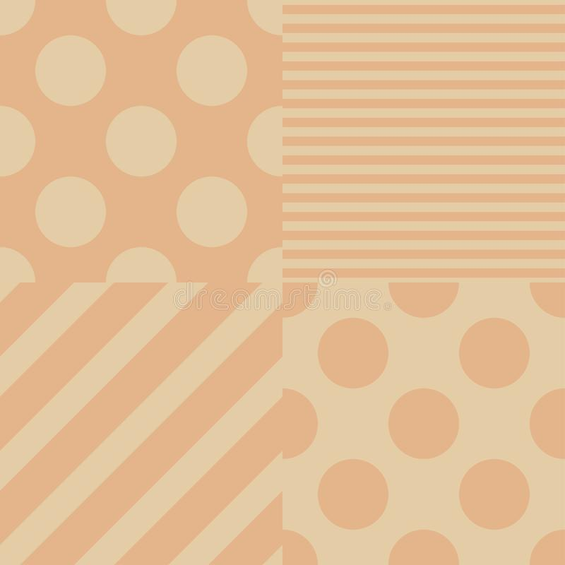 Satz von vier nahtlosen Mustern des Vektors Beige und rosa Farben lizenzfreie abbildung