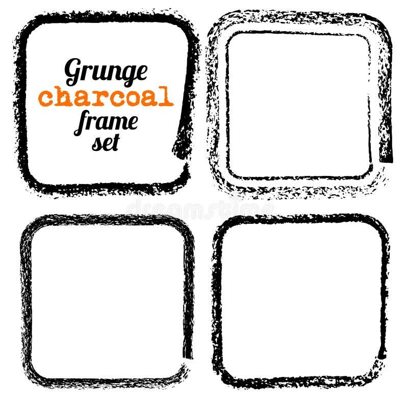 Satz von vier quadratischen Holzkohlenrahmen des Schmutzes lizenzfreie abbildung